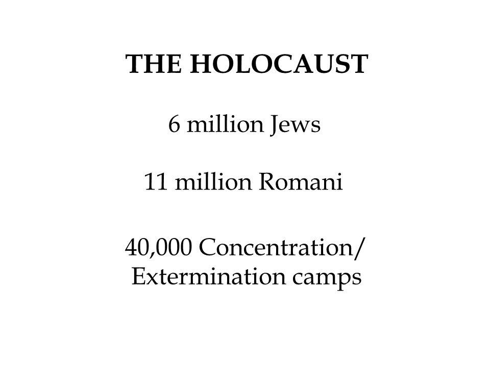 THE HOLOCAUST 6 million Jews 11 million Romani 40,000 Concentration/