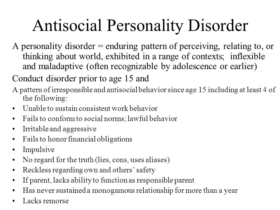 relationship between conduct disorder and antisocial personality