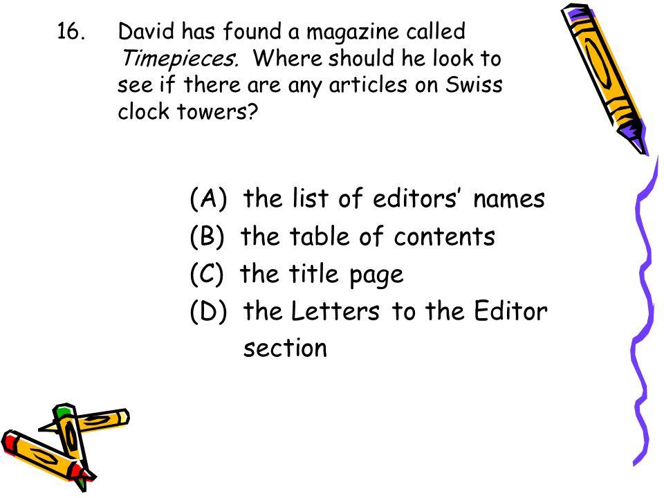 (A) the list of editors' names
