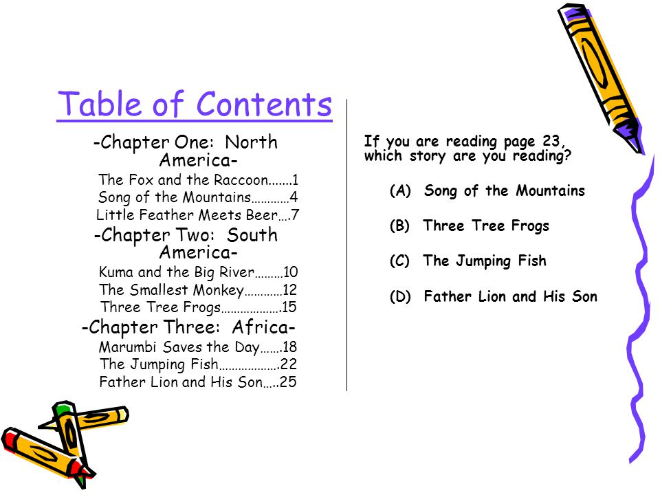 Table of Contents -Chapter One: North America-