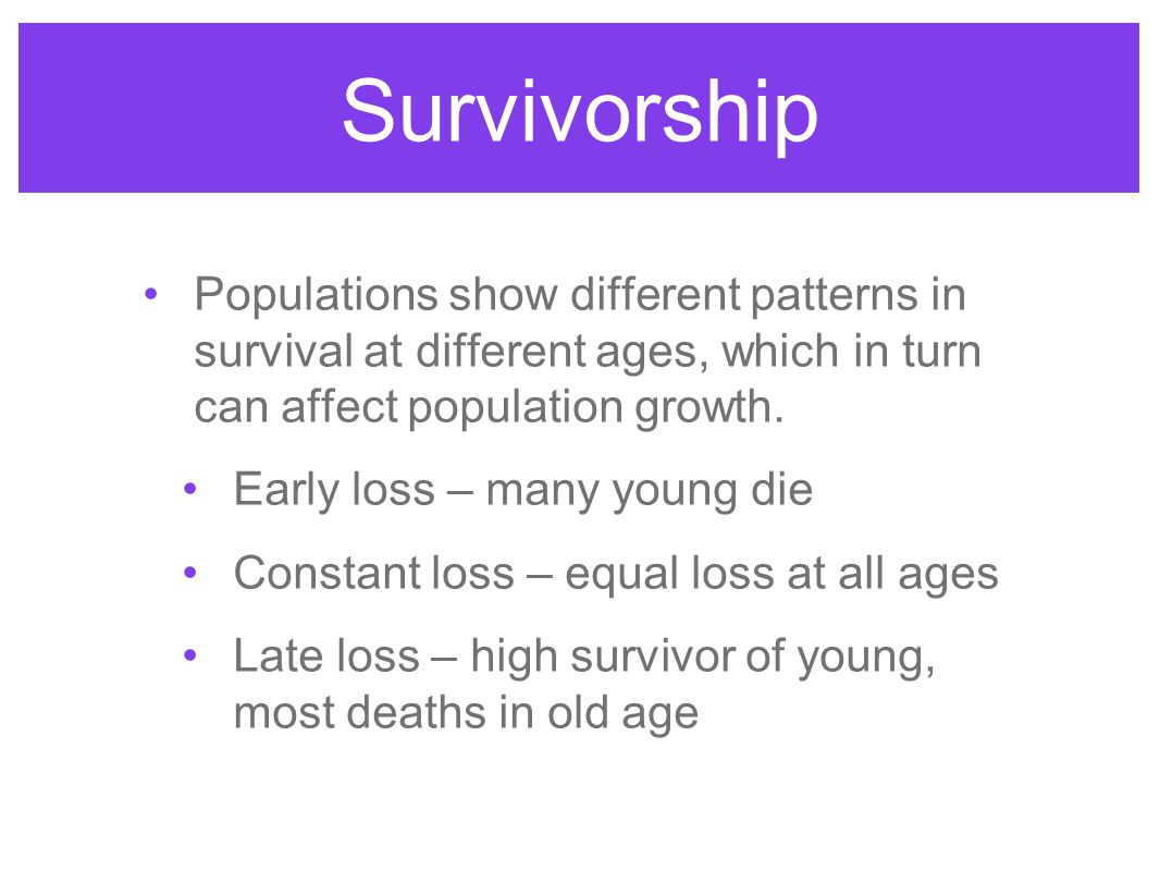Survivorship Populations show different patterns in survival at different ages, which in turn can affect population growth.