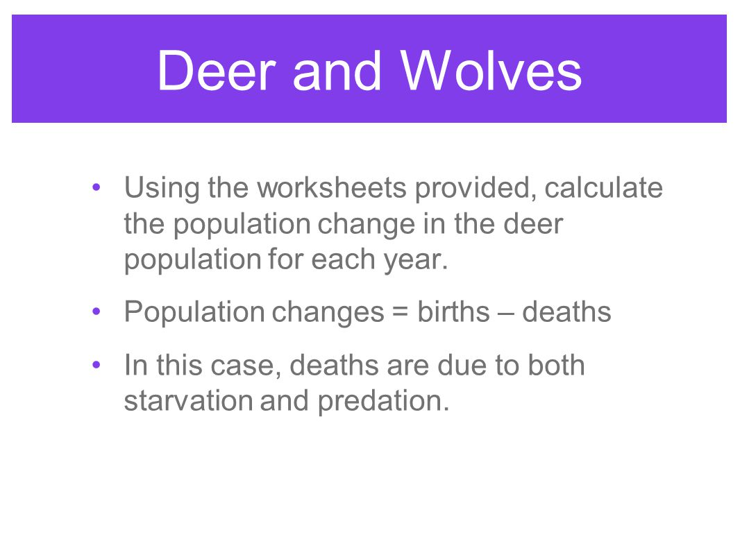 Deer and Wolves Using the worksheets provided, calculate the population change in the deer population for each year.