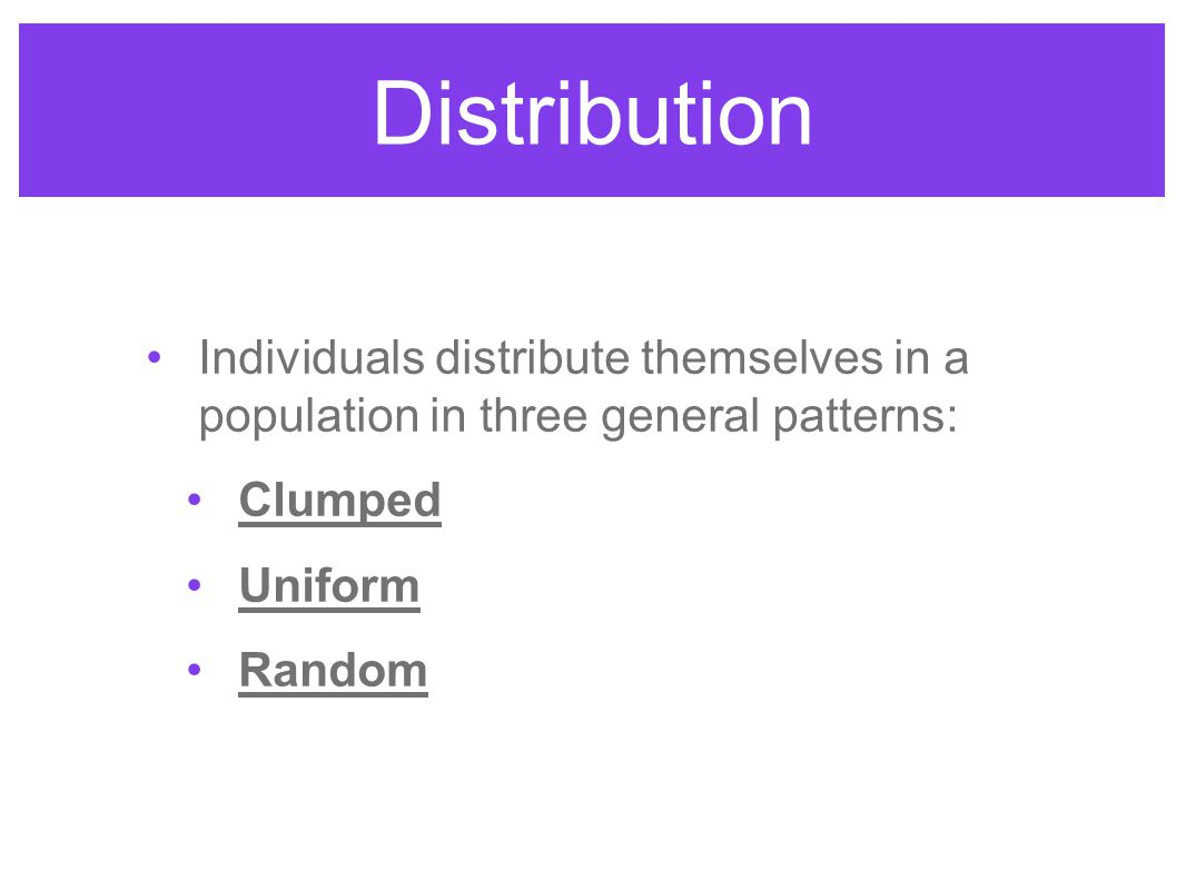 Distribution Individuals distribute themselves in a population in three general patterns: Clumped.