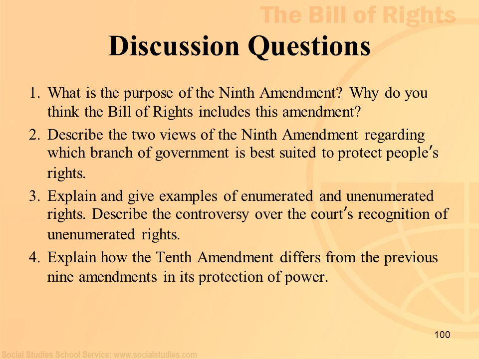 Discussion Questions What is the purpose of the Ninth Amendment Why do you think the Bill of Rights includes this amendment