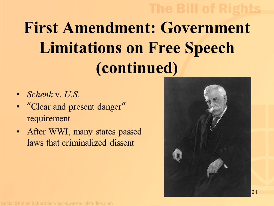 First Amendment: Government Limitations on Free Speech (continued)