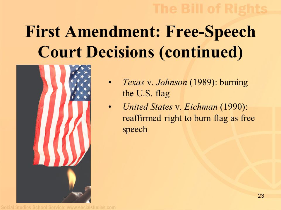 First Amendment: Free-Speech Court Decisions (continued)