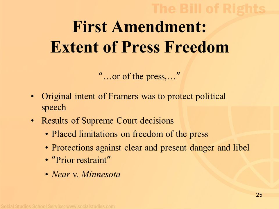 First Amendment: Extent of Press Freedom