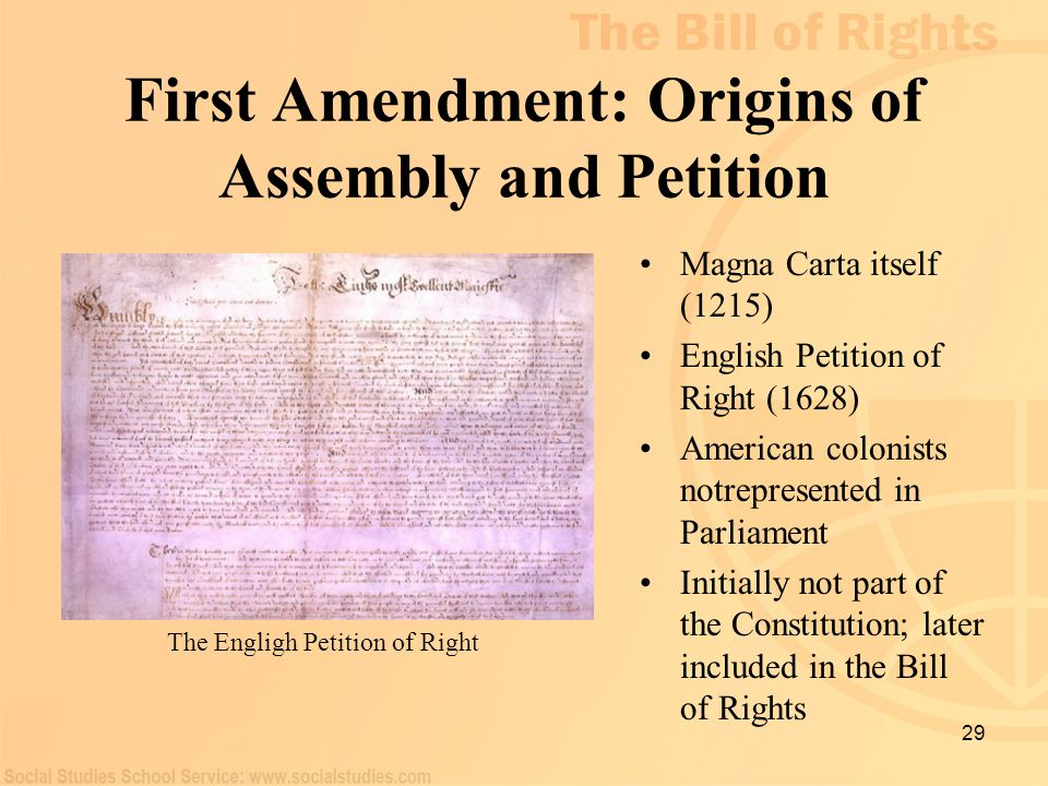 First Amendment: Origins of Assembly and Petition