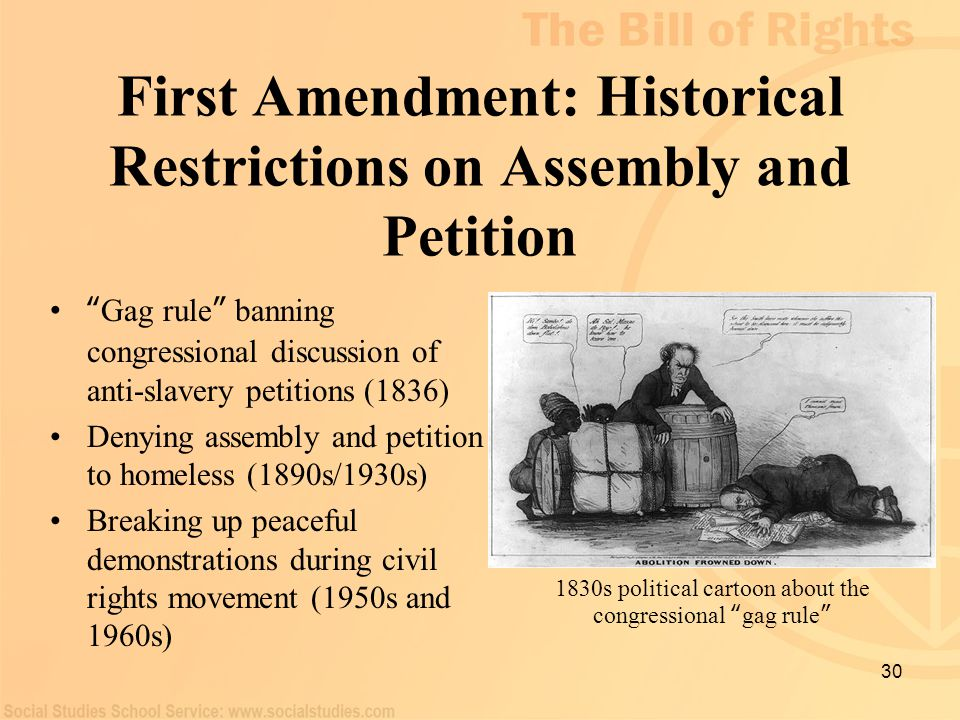 First Amendment: Historical Restrictions on Assembly and Petition