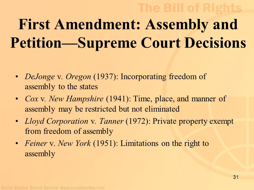 First Amendment: Assembly and Petition—Supreme Court Decisions