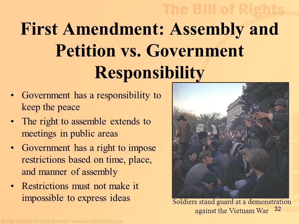 First Amendment: Assembly and Petition vs. Government Responsibility