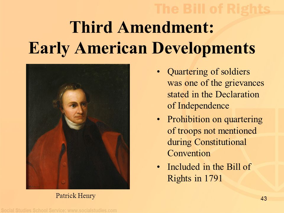 Third Amendment: Early American Developments