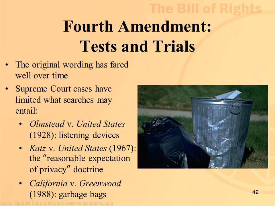 Fourth Amendment: Tests and Trials