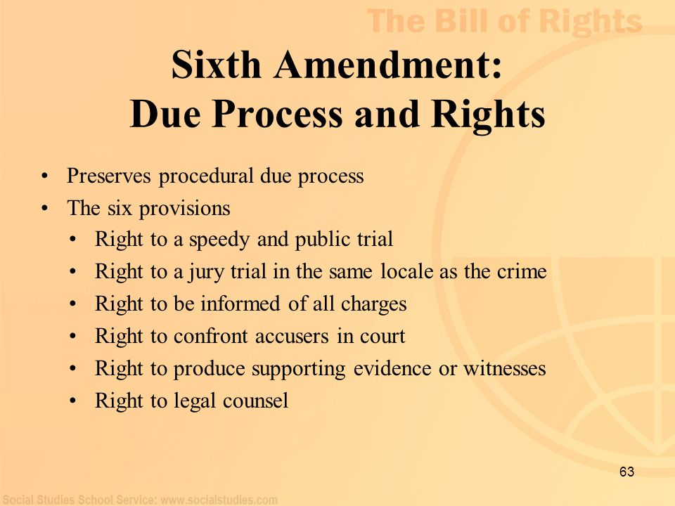 Sixth Amendment: Due Process and Rights