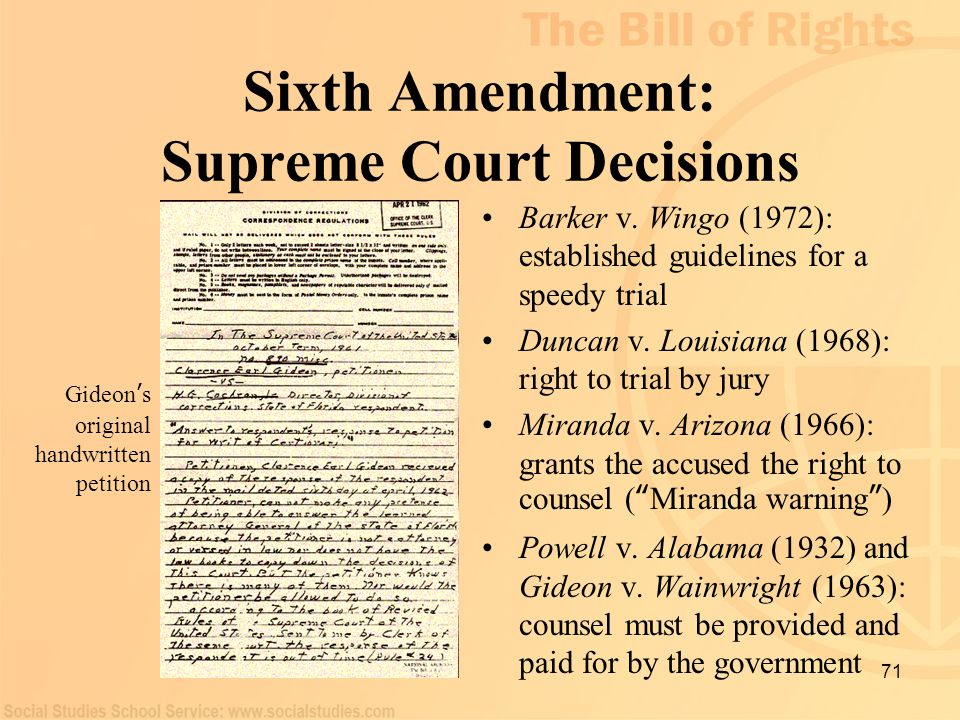 Sixth Amendment: Supreme Court Decisions