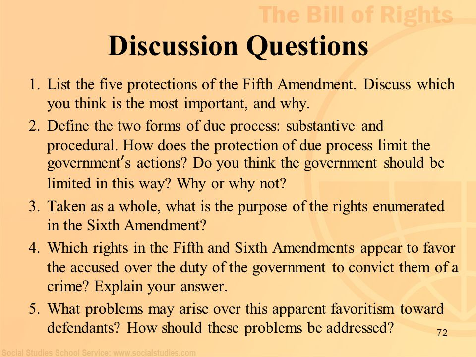 Discussion Questions List the five protections of the Fifth Amendment. Discuss which you think is the most important, and why.