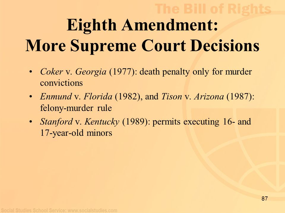 Eighth Amendment: More Supreme Court Decisions