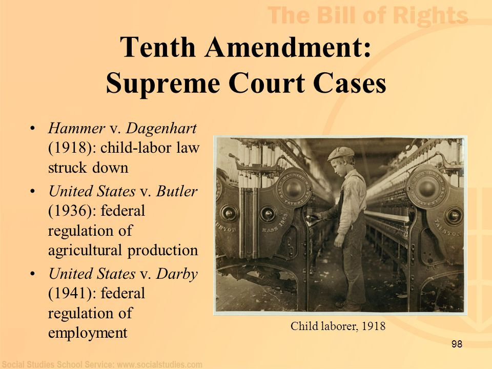 Tenth Amendment: Supreme Court Cases