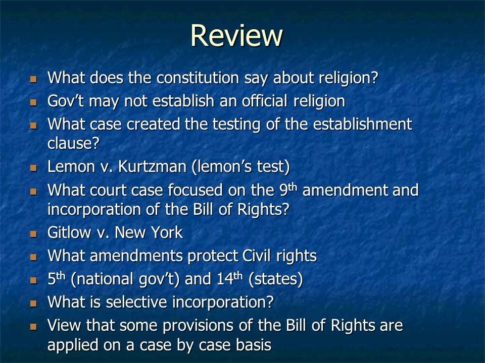 Review What does the constitution say about religion