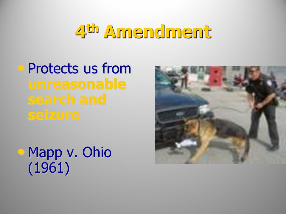 4th Amendment Protects us from unreasonable search and seizure