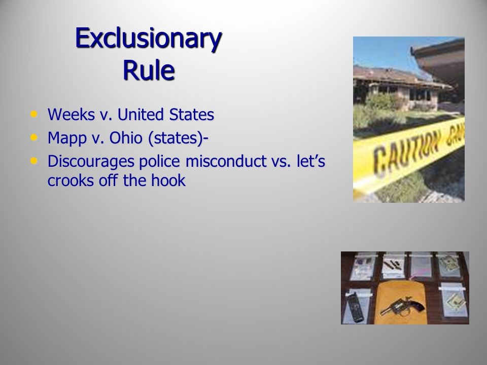 Exclusionary Rule Weeks v. United States Mapp v. Ohio (states)-