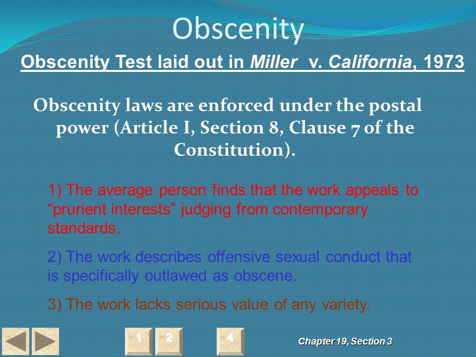 Obscenity Obscenity Test laid out in Miller v. California, 1973