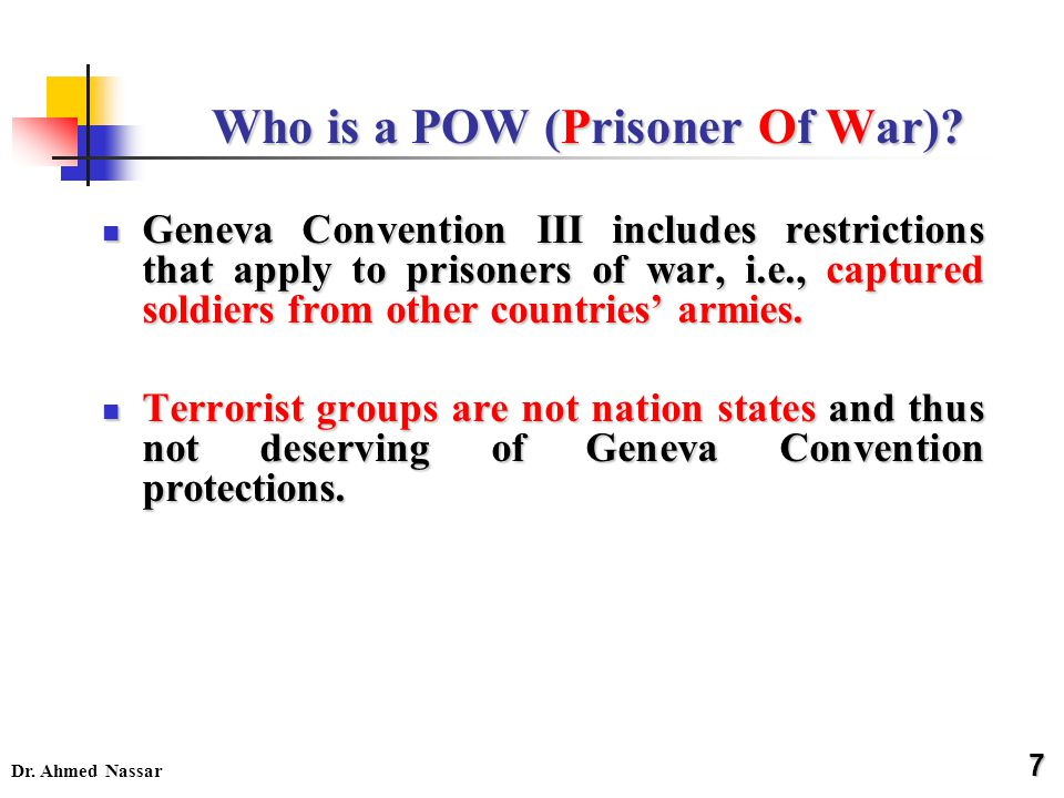 Who is a POW (Prisoner Of War)