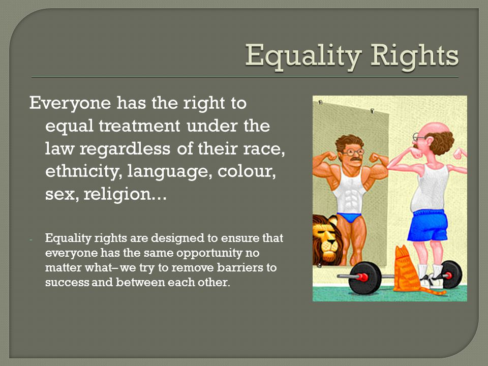 Equality Rights Everyone has the right to equal treatment under the law regardless of their race, ethnicity, language, colour, sex, religion...