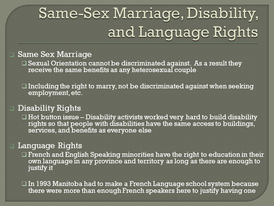 Same-Sex Marriage, Disability, and Language Rights