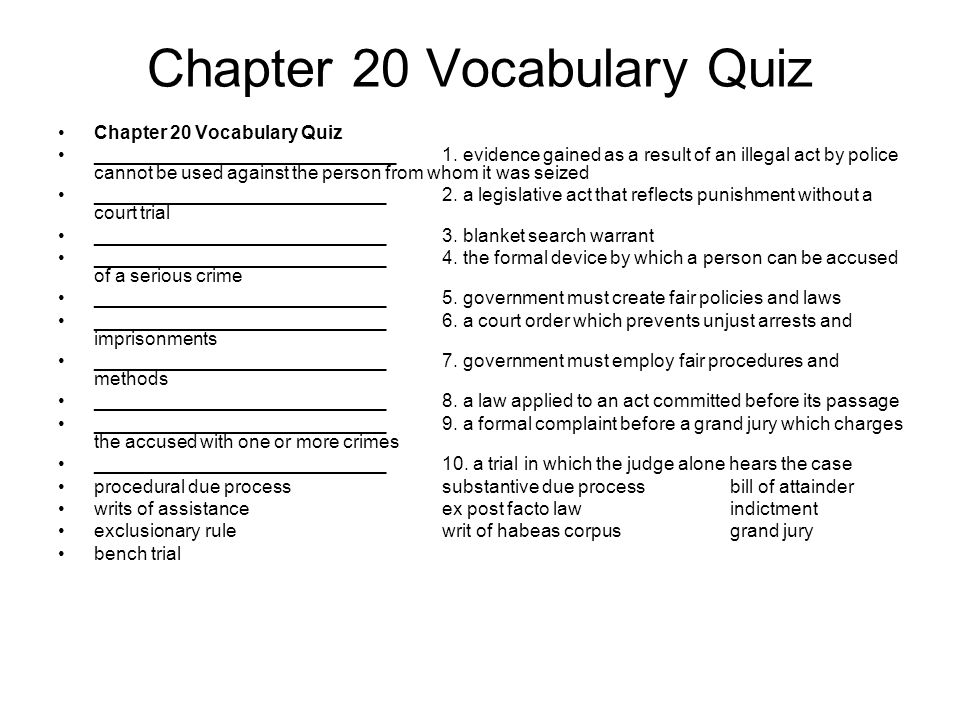 Chapter 20 Vocabulary Quiz