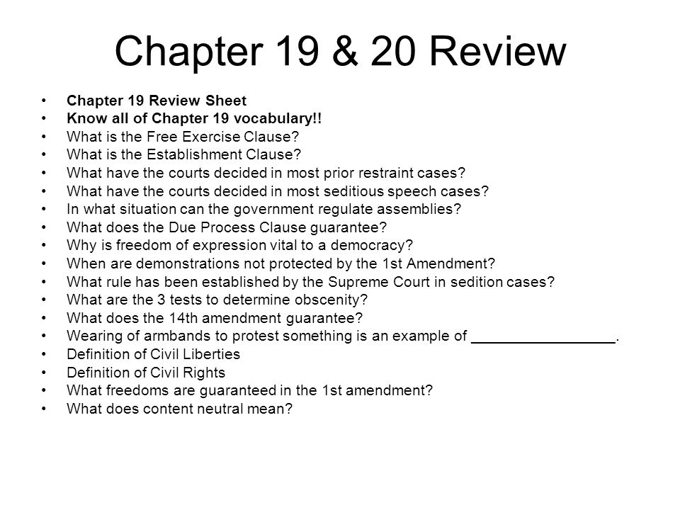 Chapter 19 & 20 Review Chapter 19 Review Sheet