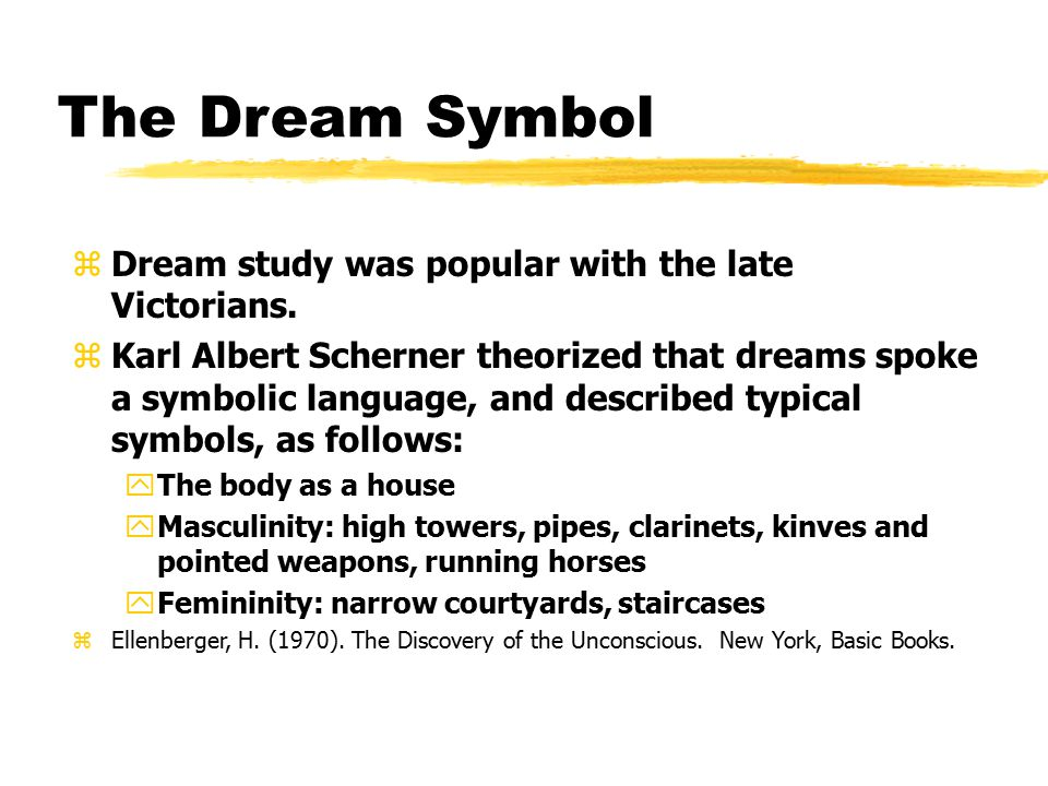 The Dream Symbol Dream study was popular with the late Victorians.