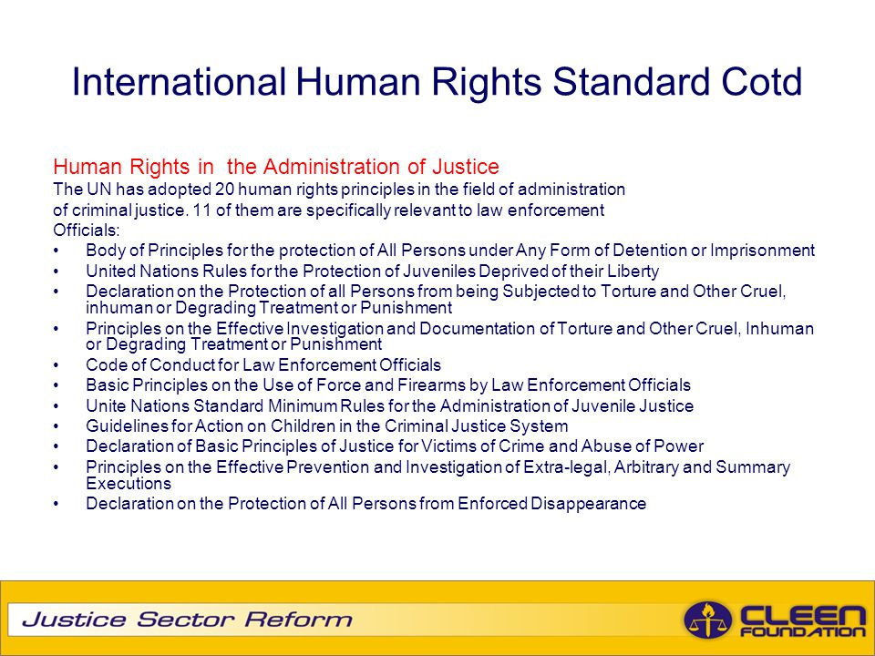 International Human Rights Standard Cotd