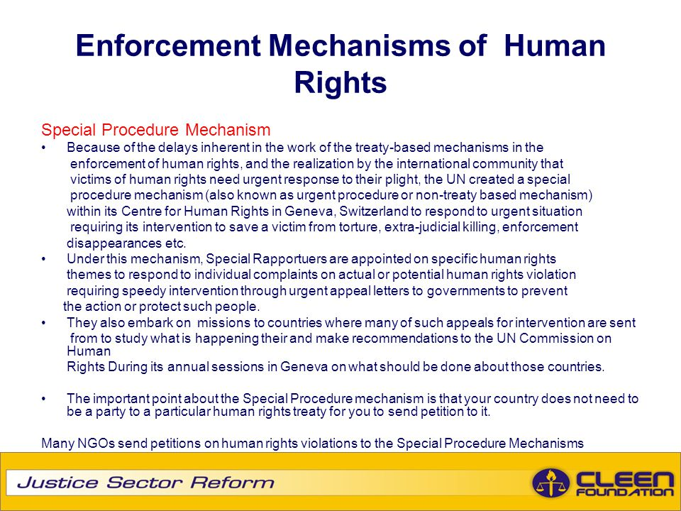 Enforcement Mechanisms of Human Rights