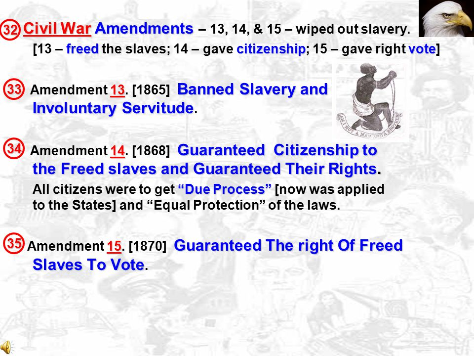 Civil War Amendments – 13, 14, & 15 – wiped out slavery.