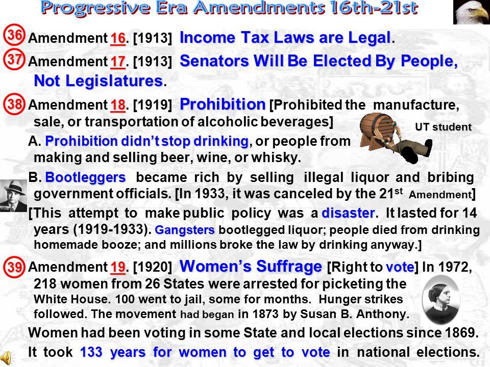 Progressive Era Amendments 16th-21st