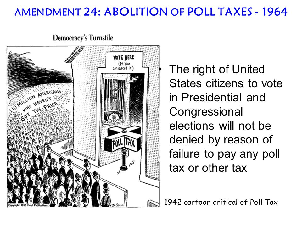 AMENDMENT 24: ABOLITION OF POLL TAXES - 1964