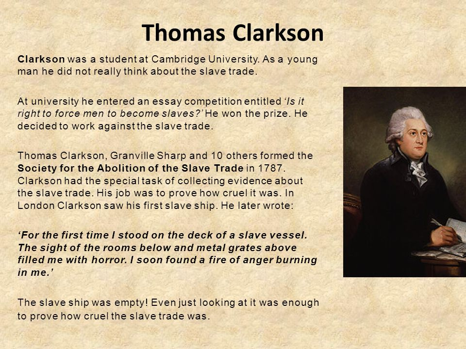 Thomas clarksons essay on the slave trade
