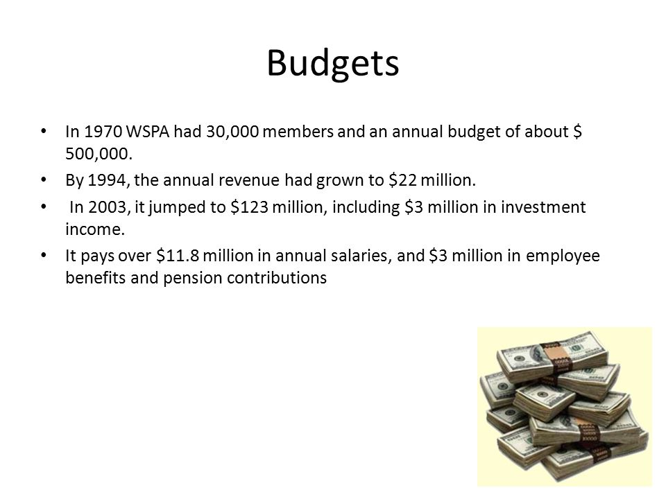 Budgets In 1970 WSPA had 30,000 members and an annual budget of about $ 500,000. By 1994, the annual revenue had grown to $22 million.