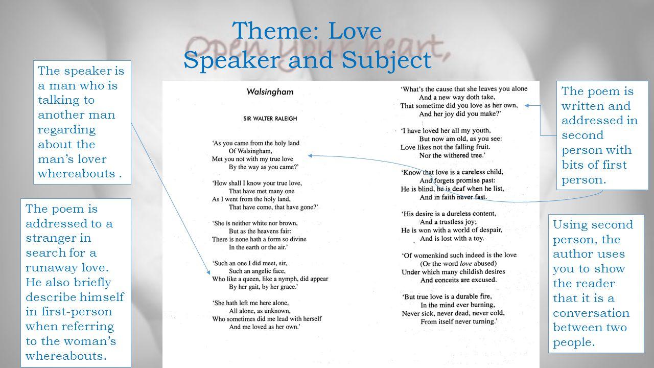 Theme: Love Speaker and Subject