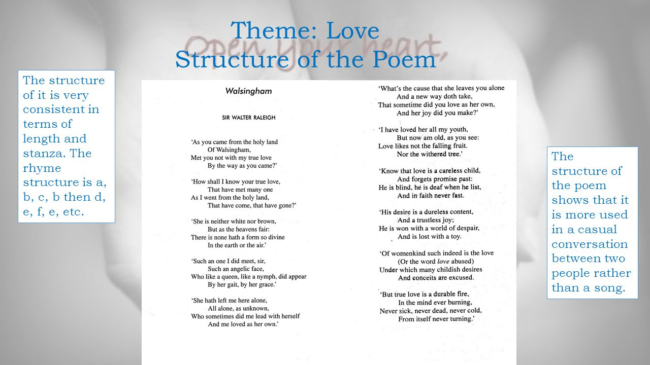 Theme: Love Structure of the Poem