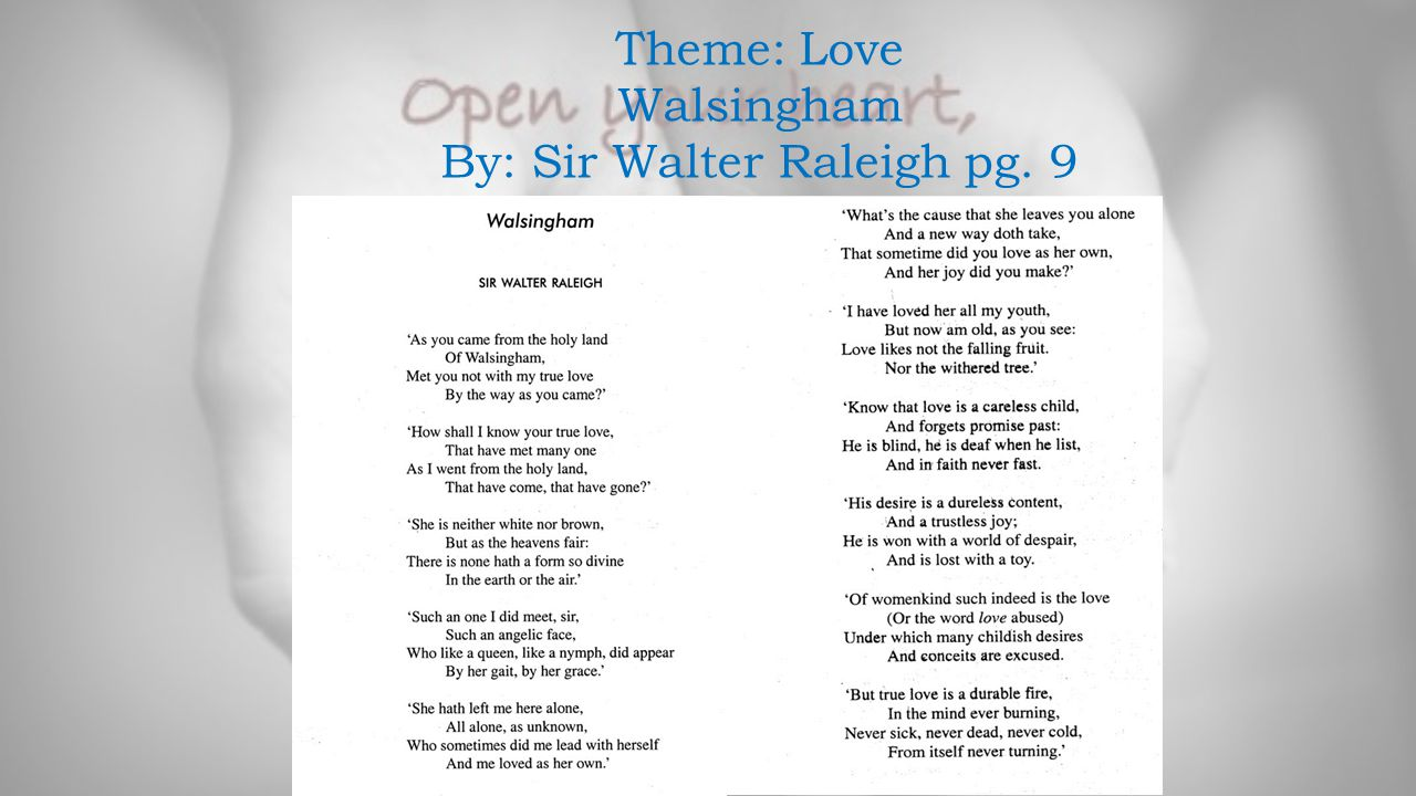 By: Sir Walter Raleigh pg. 9