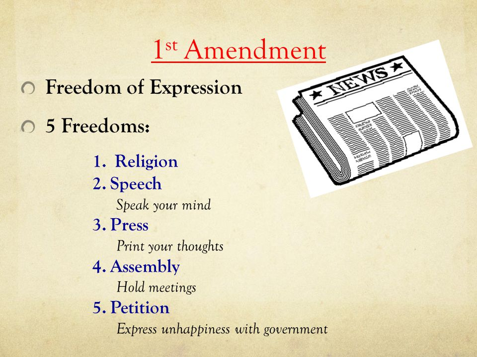 1st Amendment Freedom of Expression 5 Freedoms: Religion Speech Press