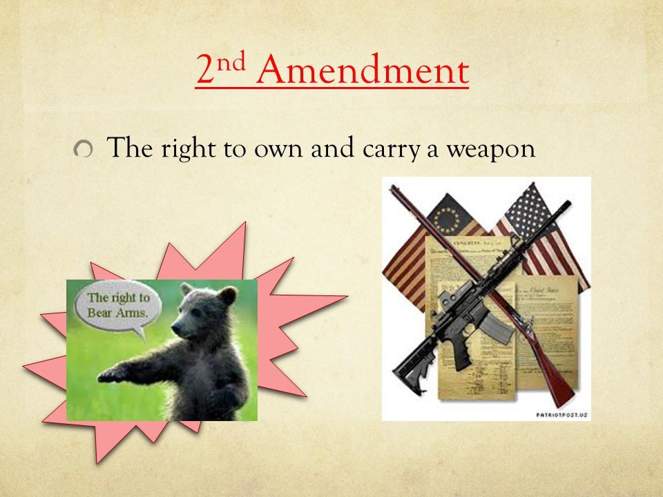 2nd Amendment The right to own and carry a weapon