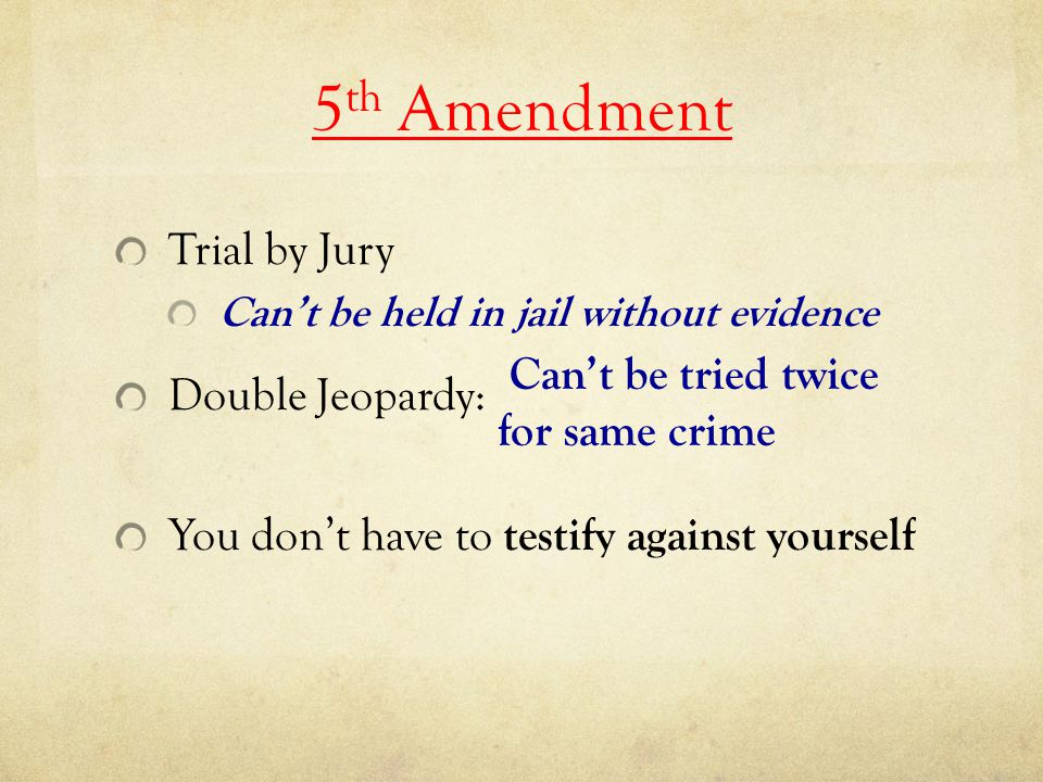 5th Amendment Trial by Jury Double Jeopardy: