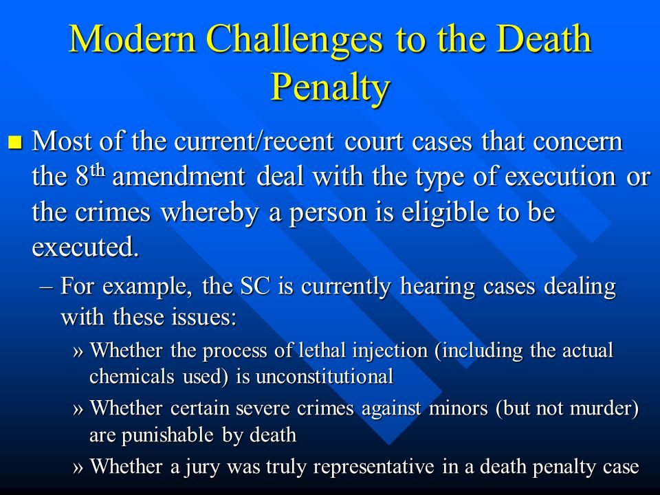Modern Challenges to the Death Penalty