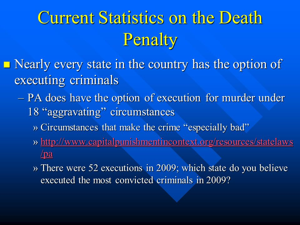 Current Statistics on the Death Penalty