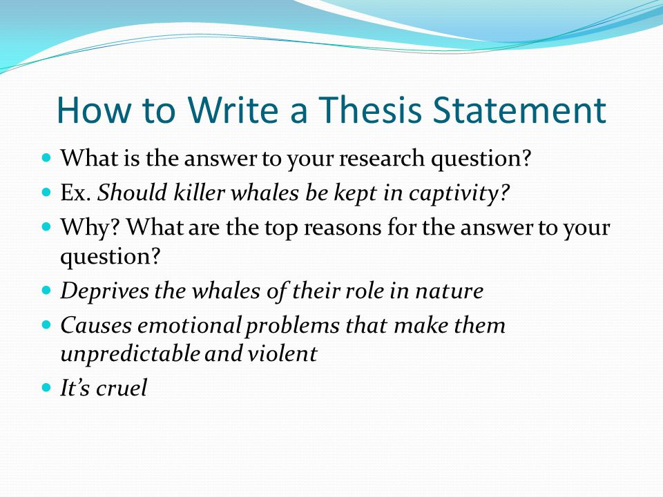 writing a thesis for your research paper