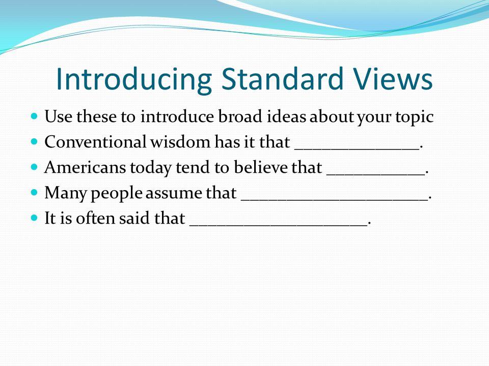 Introducing Standard Views