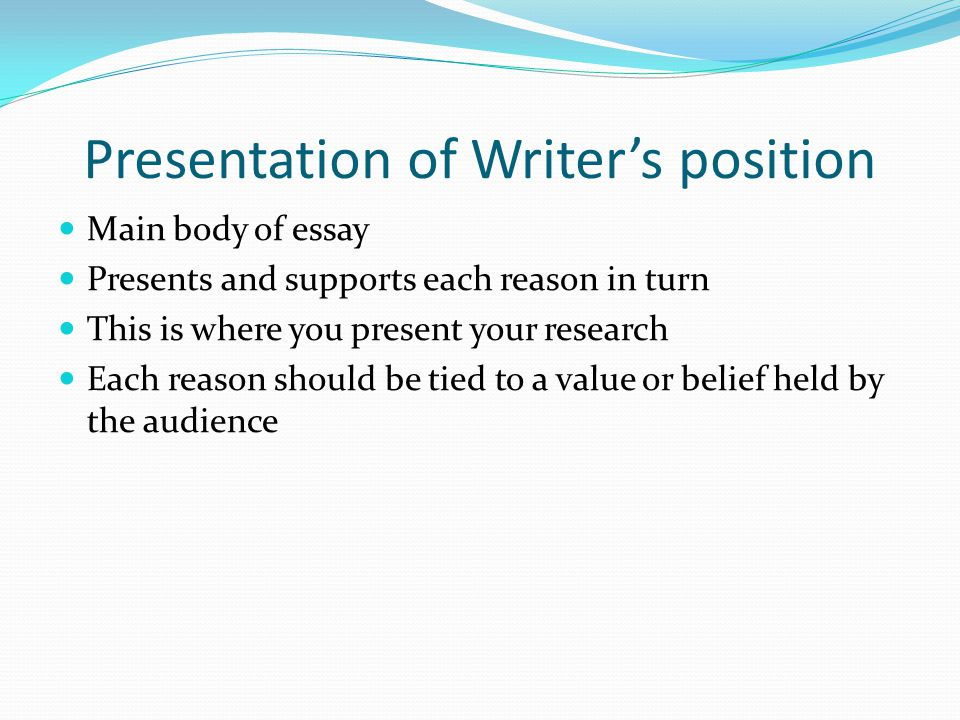 Presentation of Writer's position